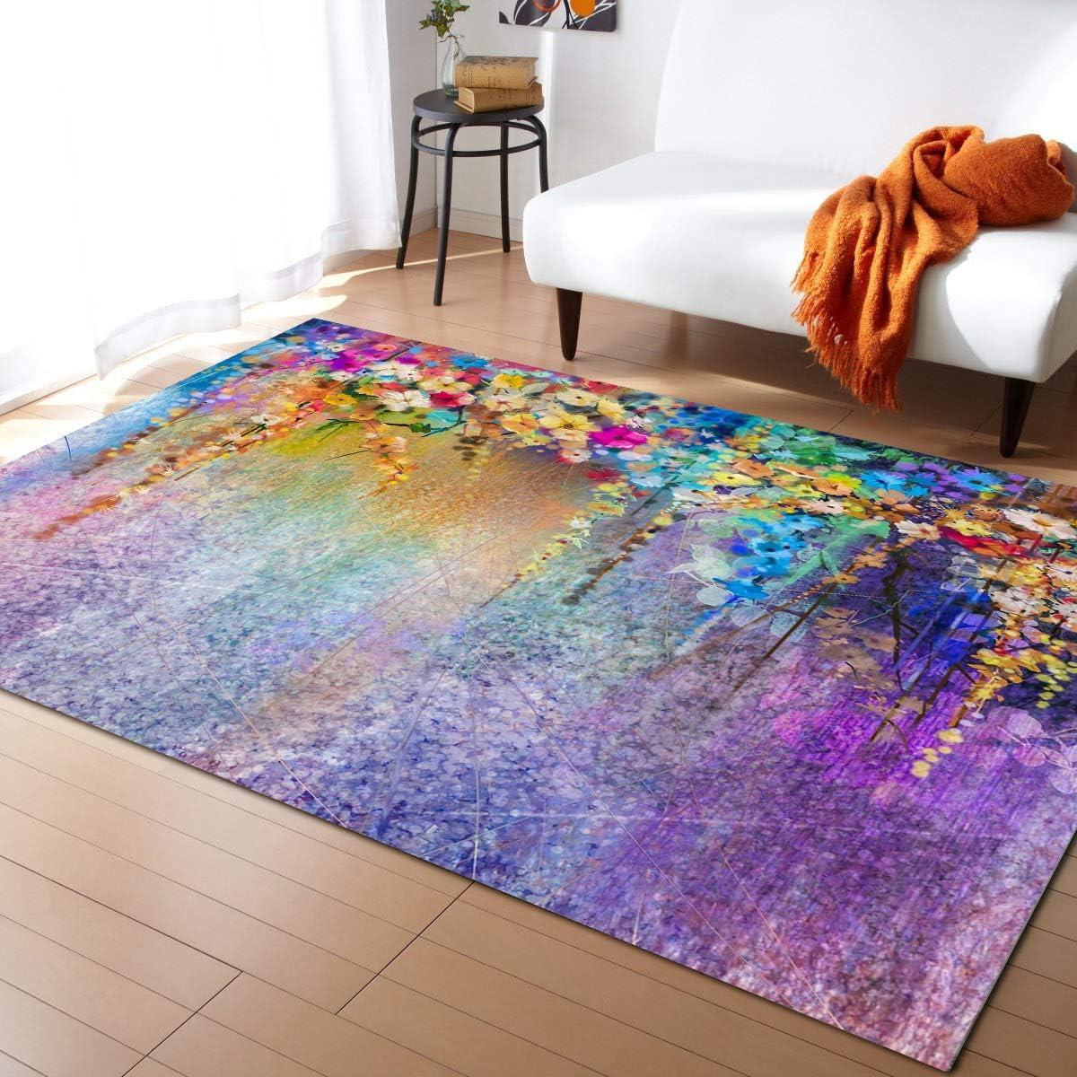 Aomike Indoor Area Rug Doormat- Watercolor Contemp Purple Flower Max 90% OFF Max 66% OFF
