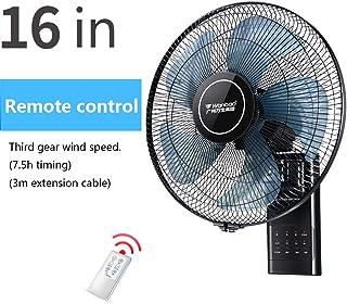 Ventilador electrico Ventilador oscilante de 16 Pulgadas, montado en la Pared para el hogar, Ventilador de Escritorio con Control Remoto, 3 velocidades/silencioso / 5 aspas