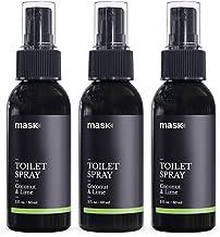 Mask Toilet Spray, Coconut & Lime, 2-Ounce (3-Pack), Deodorizer Bathroom Spray