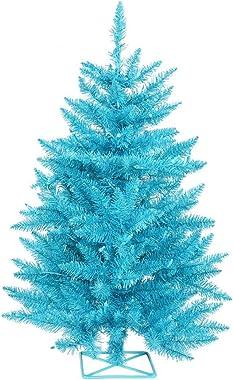 "Vickerman B986121LED Artificial Christmas Tree with 115 PVC Tips, 35 Dura-Lit Italian LED Mini Lights, 2' x 23"", Teal/Sky Blue"