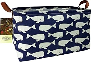 HUNRUNG Rectangle Storage Basket Cute Canvas Organizer Bin for Pet/Kids Toys, Books, Clothes Perfect for Kid Rooms/Playroom/Shelves (Whale)
