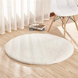 Ommda Jednolity kolor okrągłe zmywalne sztuczne futro kudłate dywany dywan maty do salonu i sypialni mleko białe 120 cm