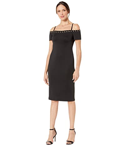 Calvin Klein Off-the-Shoulder Sheath Dress with Hardware Detail (Black) Women