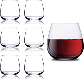 Chef's Star Elegant Glass Stemless Wine Glasses for Red or White Wine Heavy Base..
