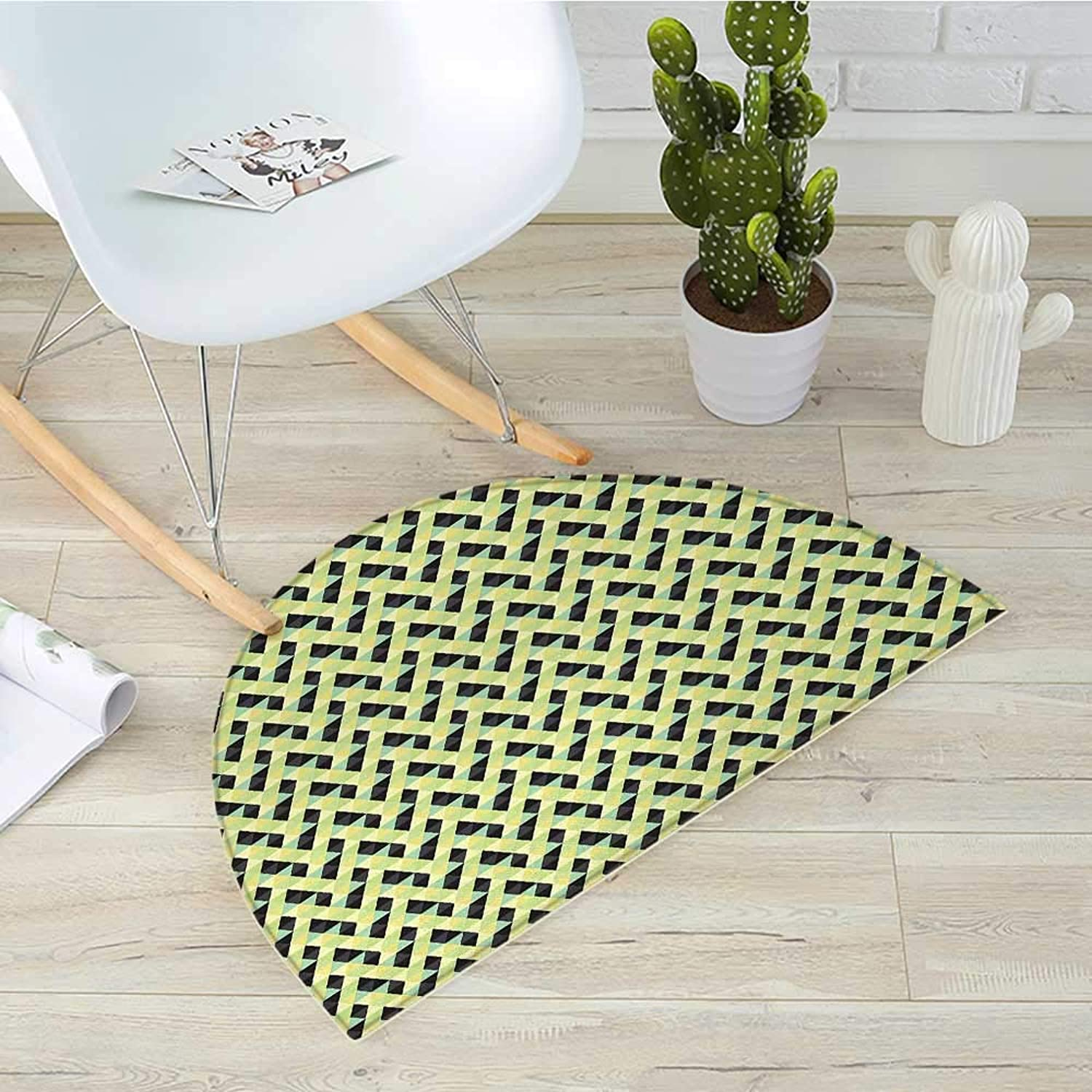 Geometric Half Round Door mats Triangles and Rhombuses with Many colors Abstract Grid Style Retro Illustration Bathroom Mat H 39.3  xD 59  Multicolor