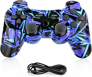 Powcan Mando Inalámbrico PS3, Bluetooth PS3 Gamepad Controller Doble vibración Mando a Distancia Joystick para Playstation 3 y PC Windows 7/8/9/10 con Cable de Carga USB (Azul)