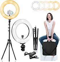 LimoStudio 14 inch Diameter Dimmable Continuous Round LED Ring Light, Beauty Facial Shoot, Smartphone, Youtube, Vine Self-Portrait, Light Stand Tripod, Camera Mount Adapter, Photo Studio, AGG2203