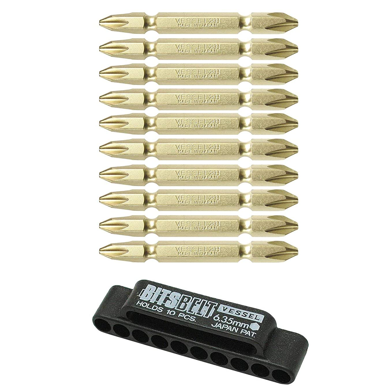 事業バリケード雄弁なベッセル(VESSEL) ビットセット +2×65mm 10本組 ホルダー付 BW-12