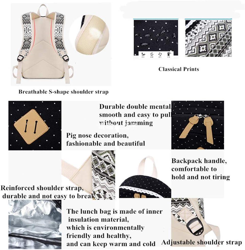 VIDOSCLA 3Pcs Poka Dot Prints Elementary Backpack Sets Primary School Bag Teens Outdoor Daypack for Girls Boys