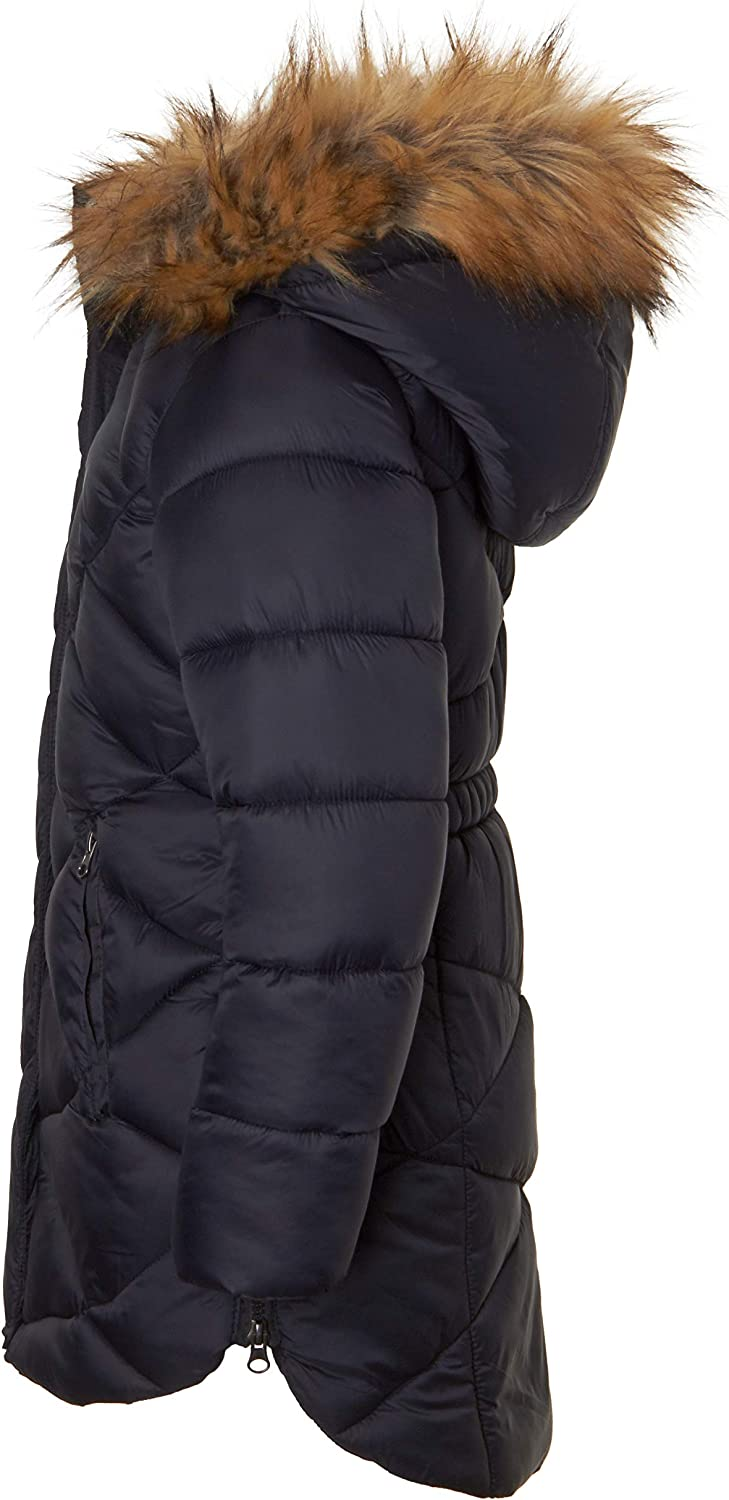 Girls Quilted Fleece Lined Winter Puffer Jacket Coat Faux Fur Trim Zip-Off Hood