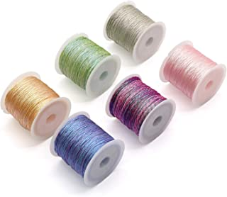 RUIYIQI 6 PCS Hand Knitting Cord String 6 Strands Craft Metallic Making String 164ft Beading Thread with 6 Color for DIY B...