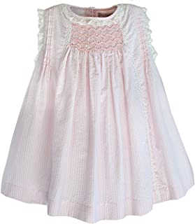 Little Girl's Smocked Dress in Cotton Seersucker