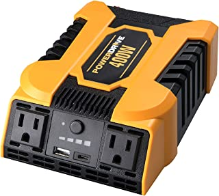 POWERDRIVE Improved & Updated 400W Power Inverter with 2 AC outlets and Dual Ports, USB 2.4A and USB-C 3.0A