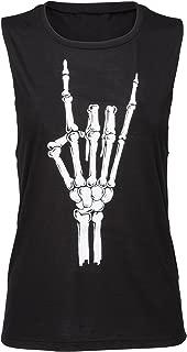 Womens Black Skull Skeleton Heavy Metal Hand Loose Fit Tank Top