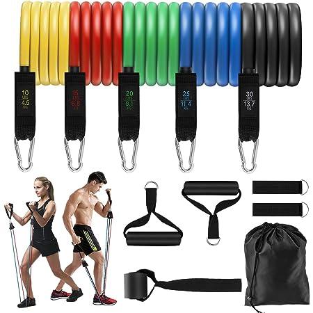 11Pcs Bandes Resistance Elastique Musculation Bras Dos Jambes 5 Niveaux Latex