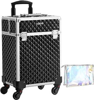 SONGMICS Kosmetikkoffer, Trolley, Make-up Koffer, Schminkkoffer, mit Griff, mit 4 Universalrollen, mit 4 ausziehbaren Fäch...