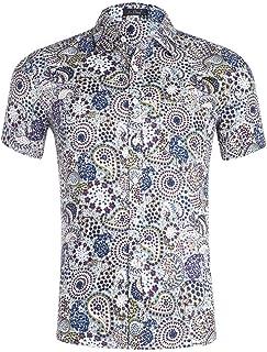 XI PENG Men's Hawaiian Shirt Floral Print Casual Cotton Button Down Short Sleeves Aloha Beach Shirt