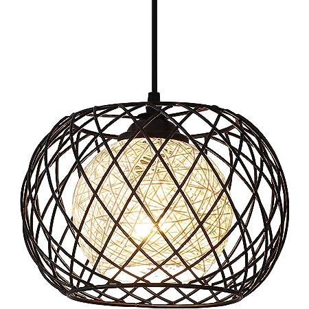 Lampe à Suspension Rétro en Métal Noir Cage E27 Suspension Industrielle,Lustre LED Moderne Simple Cuisine Salon Suspension Luminaire Créatif Antique Lampe Suspension E27 pour Cuisine Chambre