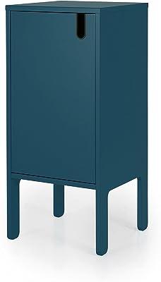 TENZO uno Designer portaoggetti 1Porta, MDF + Pannelli di Particelle, Blu Petrolio, 40x 40x 89cm