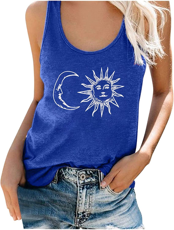 Sayhi Fashion Women's Summer Shirts Vest Letter Print O Neck Sleeveless Casual T-Shirt Top Tank