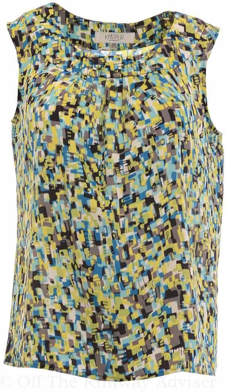 Kasper Separates Women's bluee Danube Printed Pleated Neck Top