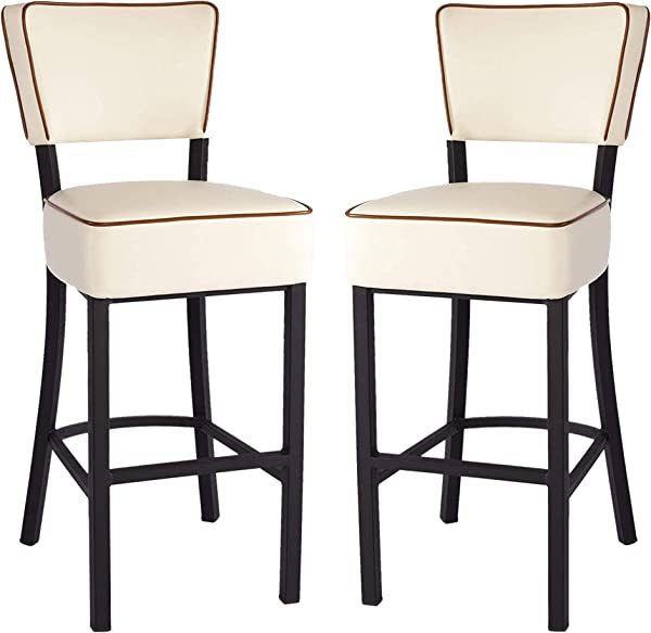 KARMAS PRODUCT Set Of 2 Upholstered Bar Stool With Steel Legs 29 Inch PU Leather Padded Counter Height Stools With Back Beige