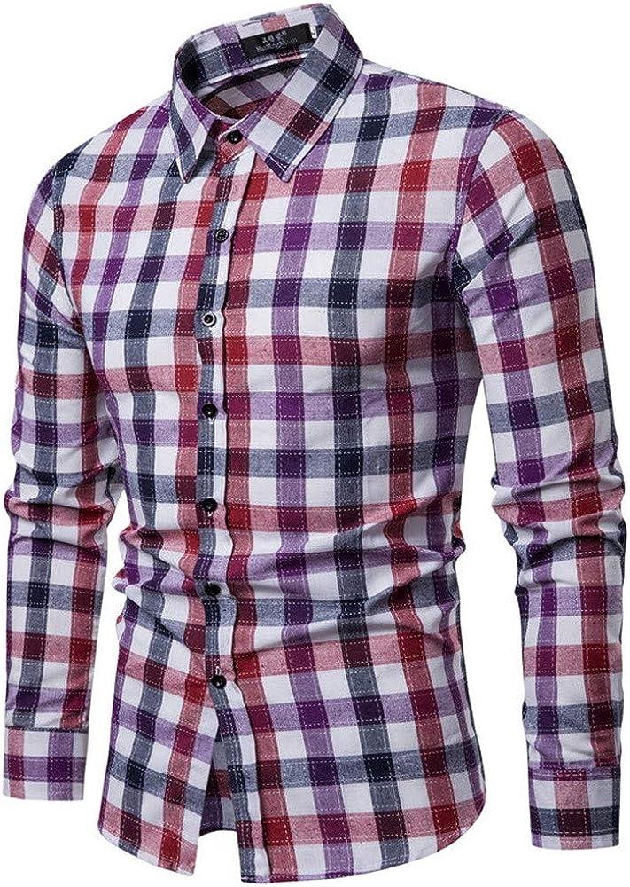 MODOQO Men's Slim-Fit Long Sleeve Plaid Button-Down Collar Shirt
