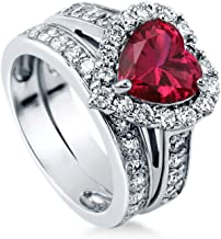 BERRICLE Rhodium Plated Sterling Silver Simulated Ruby Heart Shaped Cubic Zirconia CZ Statement Halo Engagement Wedding Ring Set 2.82 CTW