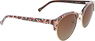 Vera Bradley Women's Jade VBJADE0STF0SUN Polarized Round Sunglasses, Stitched Flowers, 53 mm