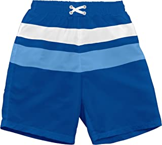 i play. by green sprouts Boys' Colorblock Trunks with Built-in Reusable Absorbent Swim Diaper, Royal, 24mo