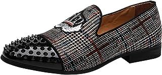 Mocassin Homme Noble Velours Broderie Vintage Chaussures Slip on Cuir Verni Rivets Loafers Pantoufles Chausson Rouge/Gris/...