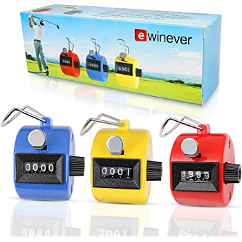 ewinever 3-Pack Handheld Tally Counter 4 Digit Mechanical Palm Clicker Counter, Number Counter/Pitchers Scores Counter/Crochet Stitch Counters and Other Sport Event
