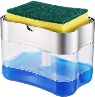 Dishwashing Soap Dispenser,Soap Dispenser Sponge Holder 2 in1,Dish soap Dispenser Caddy,Countertop soap Dispenser,Soap Pum...