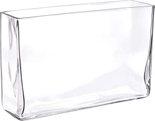 Urban Trends Glass Rectangular Vase with Rectangular Mouth Clear Glass Finish Achromatic, Clear