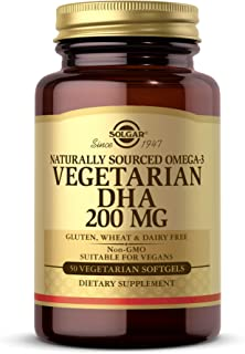 Solgar Omega-3 Vegetarian DHA 200 mg Vegetarian, 50 Softgels - Support for Cardiovascular, Joint & Skin Health - Contains ...