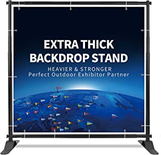 T-Sign 5'x7' - 8'x10' Heavy Duty Backdrop Banner Stand, Extra Thick Professional Large Tube Telescopic Display Step and Repeat Stand for Photography Backdrop, Carrying Case for Free (Renewed)