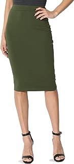 Basic Comfort Stretch Cotton Elastic High Waist Knee Midi Pencil Skirt