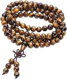QGEM, bracciale unisex con 108 perle di Buddha, bracciale per preghiera buddista, tibetana, per yoga, Buddha Mala, 6 mm/8 mm