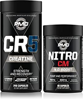 PMD Sports CR5 Professional Creatine Complex (240 Capsules) & PMD Sports Nitro cm Nitric Oxide (90 Capsules)