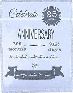 Manual 25th Wedding Silver Anniversary Celebration Lightweight Throw Blanket SA25AN 50x60