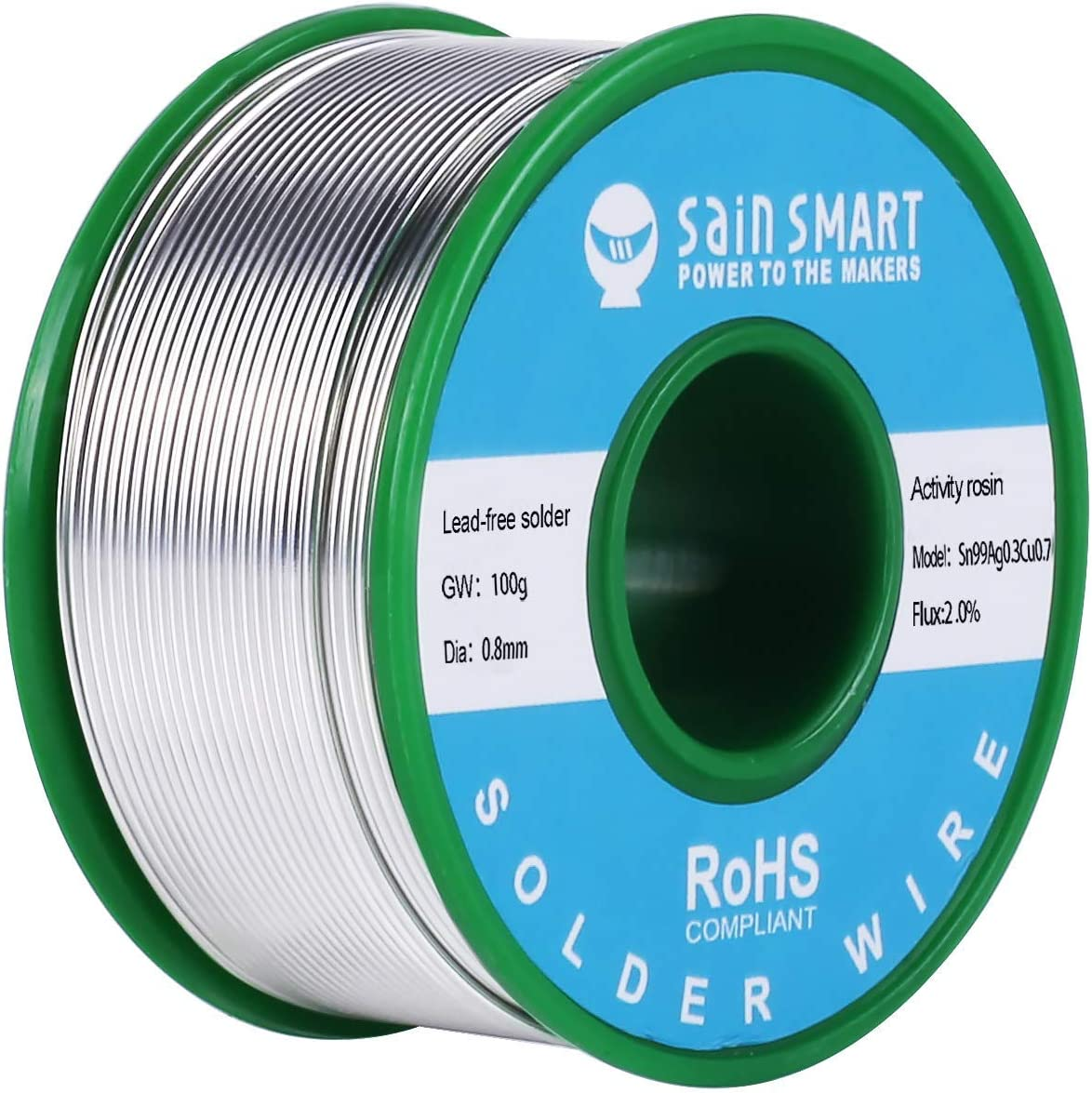 SainSmart 0.8mm Inventory cleanup selling sale Lead Free Solder Wire Ag0 Sn97 Cu0.7 Rosin2 with Over item handling ☆