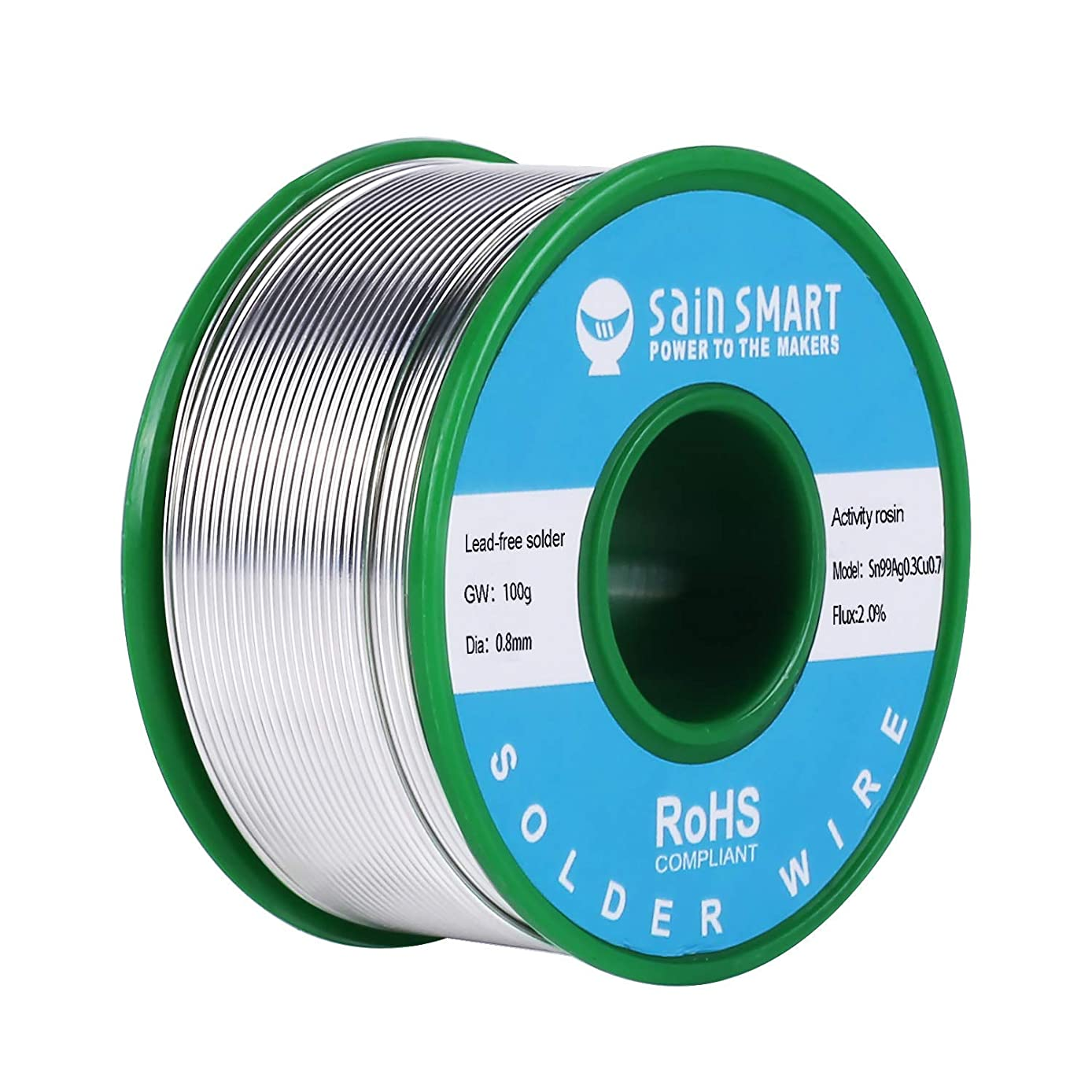 SainSmart 0.8mm Lead Free Solder Wire with Rosin2 Sn97 Cu0.7 Ag0.3, Tin Wire Solder for Electrical Soldering (100g /0.22lbs)