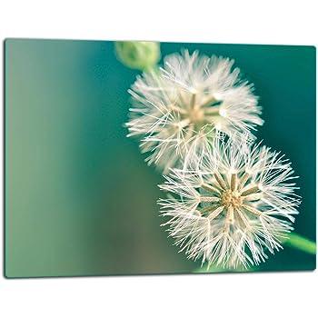 Glasschneideplatte 52x30 cm Herdabdeckplatte ceranfeld 1-telig Universal Glasplate Glasschneidebrett TMK motiv Blumen Spritzschutz