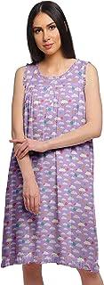 Moomaya Women's Printed A-Line Sleeveless Nightdress Cotton Sleepwear Gown