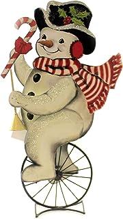 Bethany Lowe Tin Snowman Unicycle Retro Vintage Style Christmas Decor Figurine