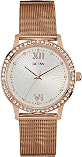 GUESS Women's Dressy Watch with White Dial, Crystal-Accented Bezel and Mesh G-Link Band