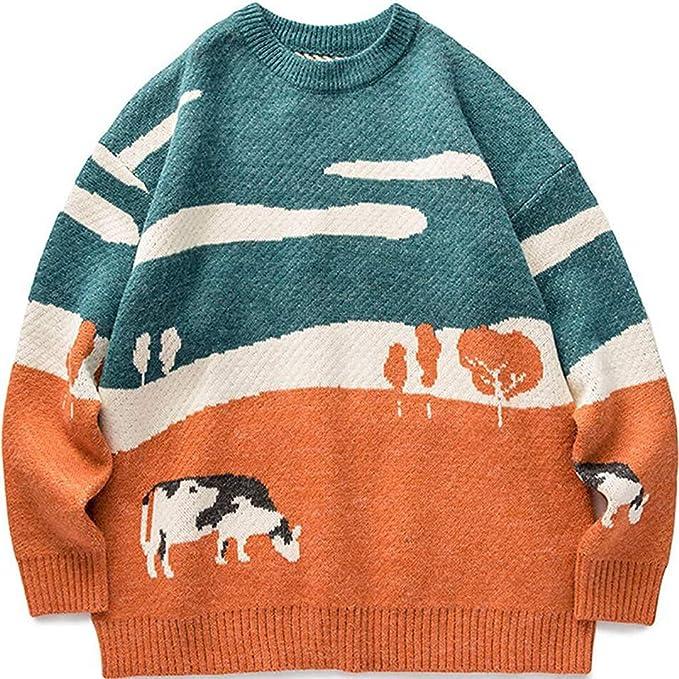 80s Sweatshirts, Sweaters, Vests | Women Vamtac Mens Grassland Cow Vintage Oversize Knitted Sweater Long Sleeve Round Neck Knitted Pullover Jumper  AT vintagedancer.com