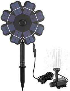 """Richarm Solar Pump Bird Bath Fountain 2.5W Φ7.7"""" Solar Panel Water Features with Stake 9.84ft Cable Outdoor Solar Garden Fountain for Pond,Pool,Lawn"""