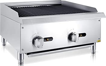 Chef's Exclusive CE776 Commercial Countertop Stainless Steel 24 Inch Char Rock Char Broiler Charbroiler Grill Liquid Propane LP Gas, 70,000 BTU Per Hour 20KW, Metallic