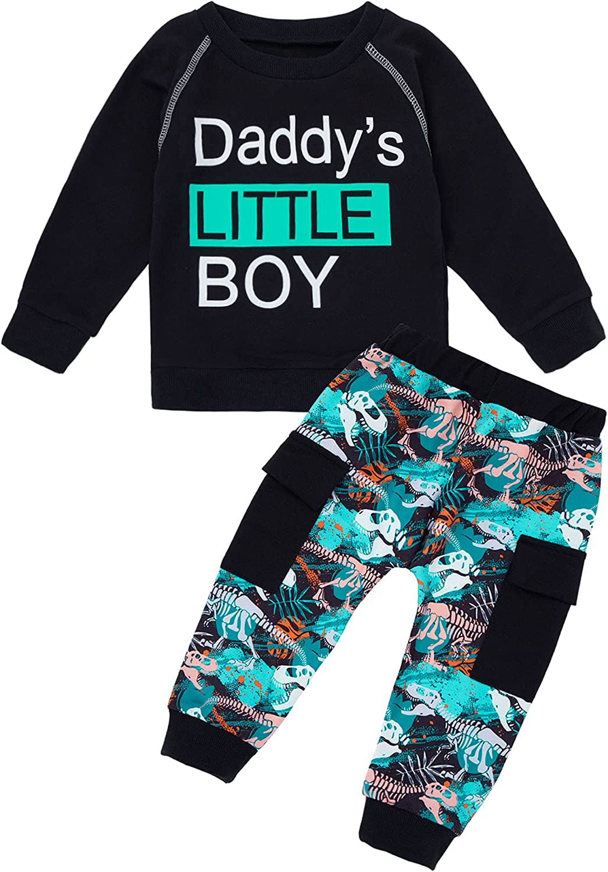Toddler Baby Boy Clothes Boys Winter Outfits Dinosaur Letter Print Long Sleeve Sweatshirt Dinosaur Pants 2Pcs Set